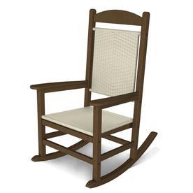 Polywood Presidential Teak White Loom Plastic Patio Rocking Chair R200ftewl
