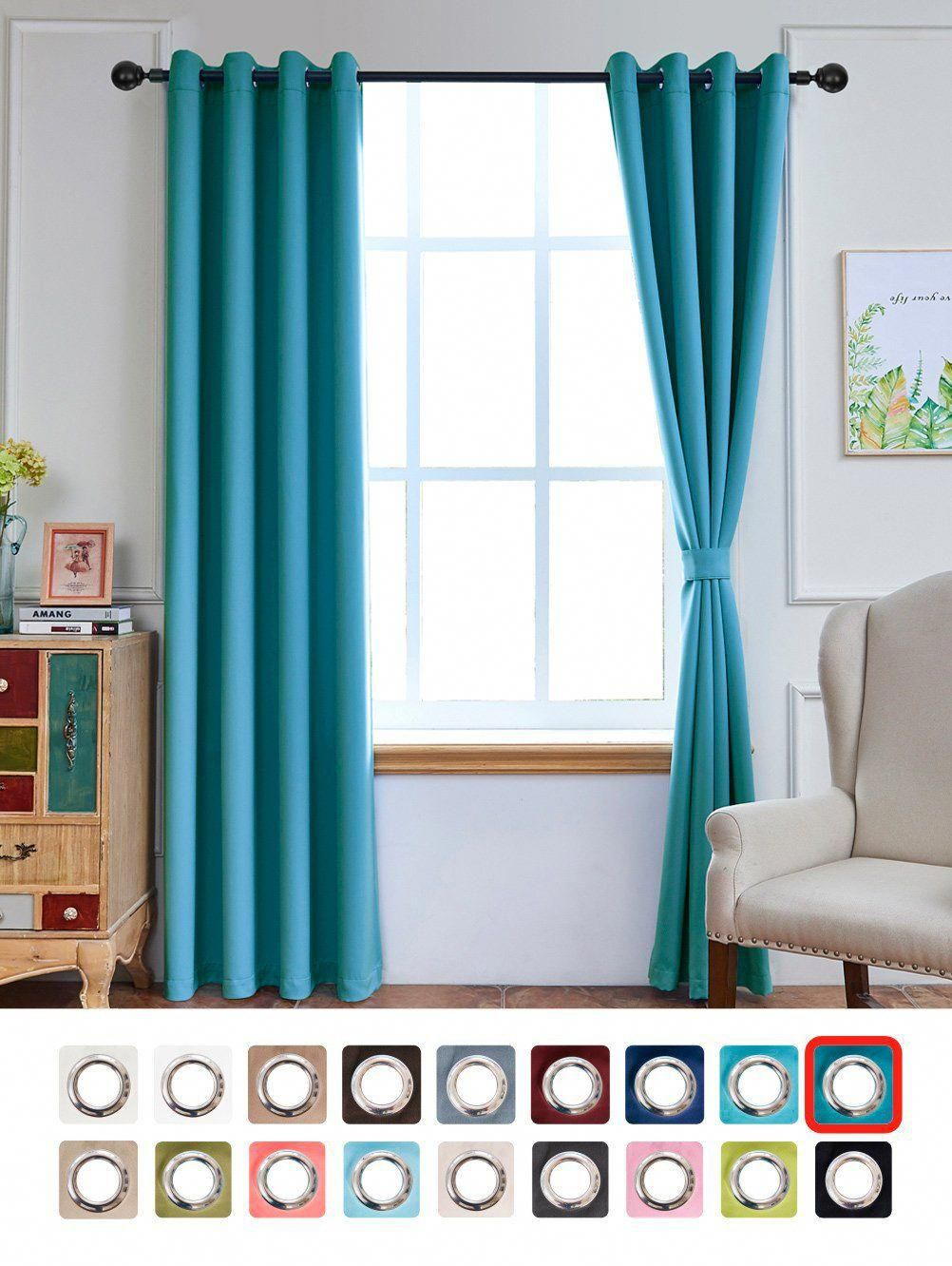 Yakamok Light Blocking Darkening Thermal Insulated Blackout Curtains Solid Grommet Top Window Draperies D Panels For Bedroom Living Room 52x84 Inch