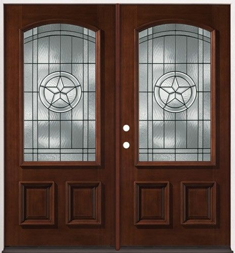 3 4 arch mahogany wood entry texas star double doors for Double wood doors with glass