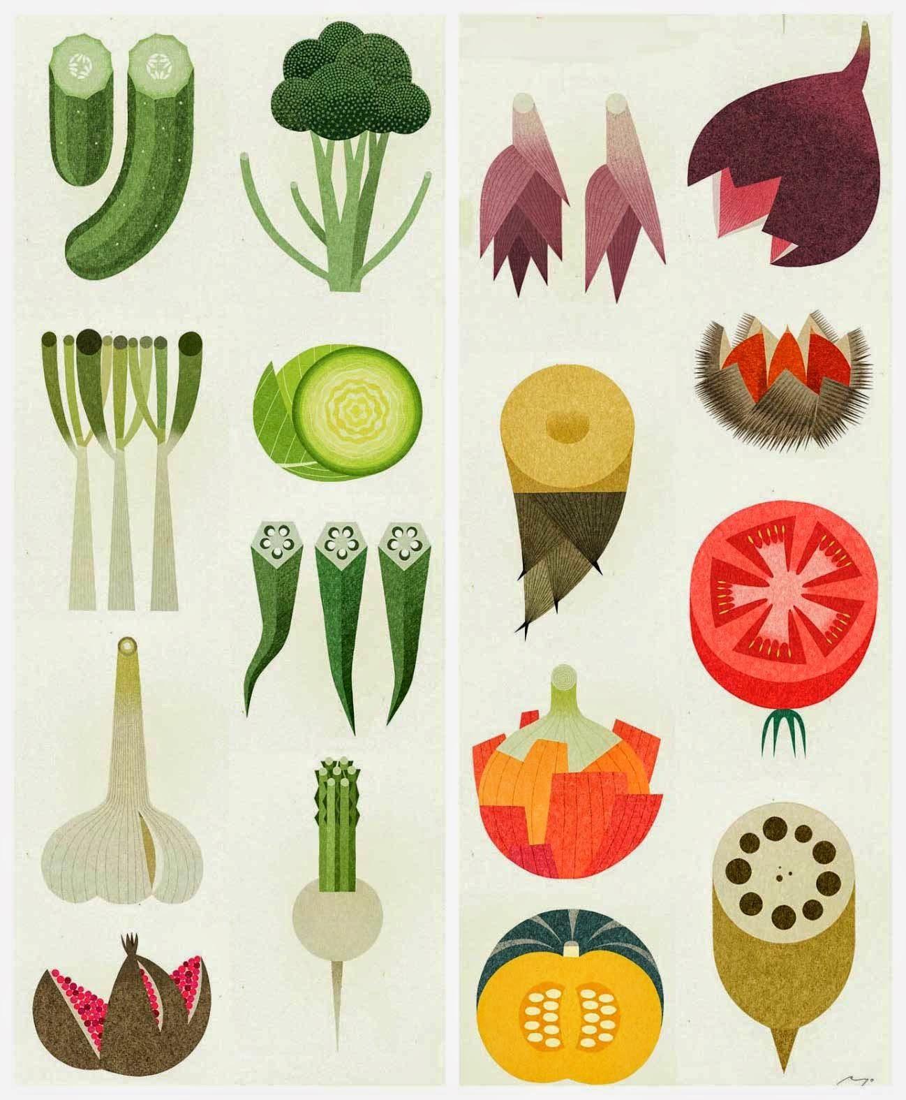 puntadas 342 | イラスト シンプル、野菜、插画