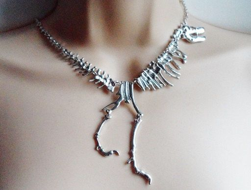 Silver T Rex Dinosaur Skeleton Necklace Skeleton Necklace Necklace Beautiful Jewelry