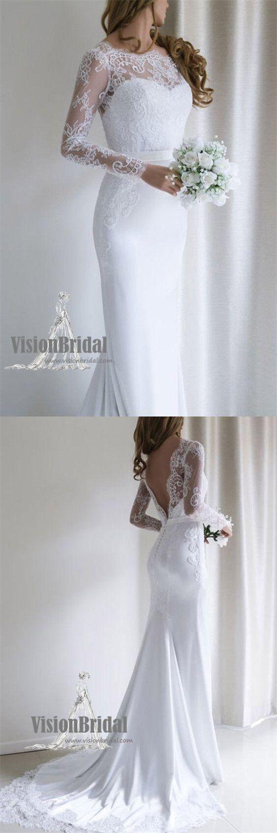 Long wedding dress  Simple Scoop Neckline Top Lace Covered Button VBack ALine Long