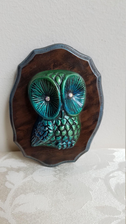 Vintage Turquoise Blue Owl With Rhinestone Eyes Chalkware