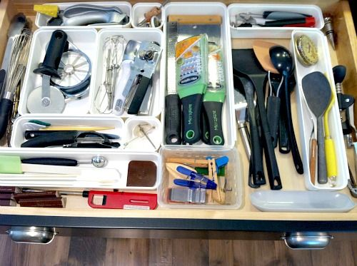 organized kitchen gadgets and utensils drawer this drawer is huge it s 36 wide and 20 deep on kitchen organization gadgets id=74531