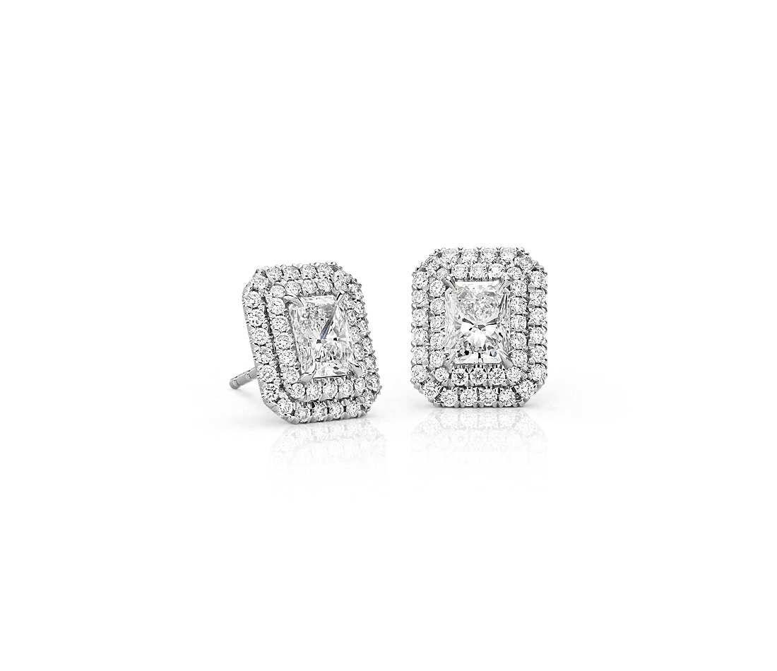 Radiant Cut Diamond Double Halo Earrings In 18k White Gold 1 50 Ct Tw