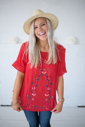 Mason Embroidery Top- Red