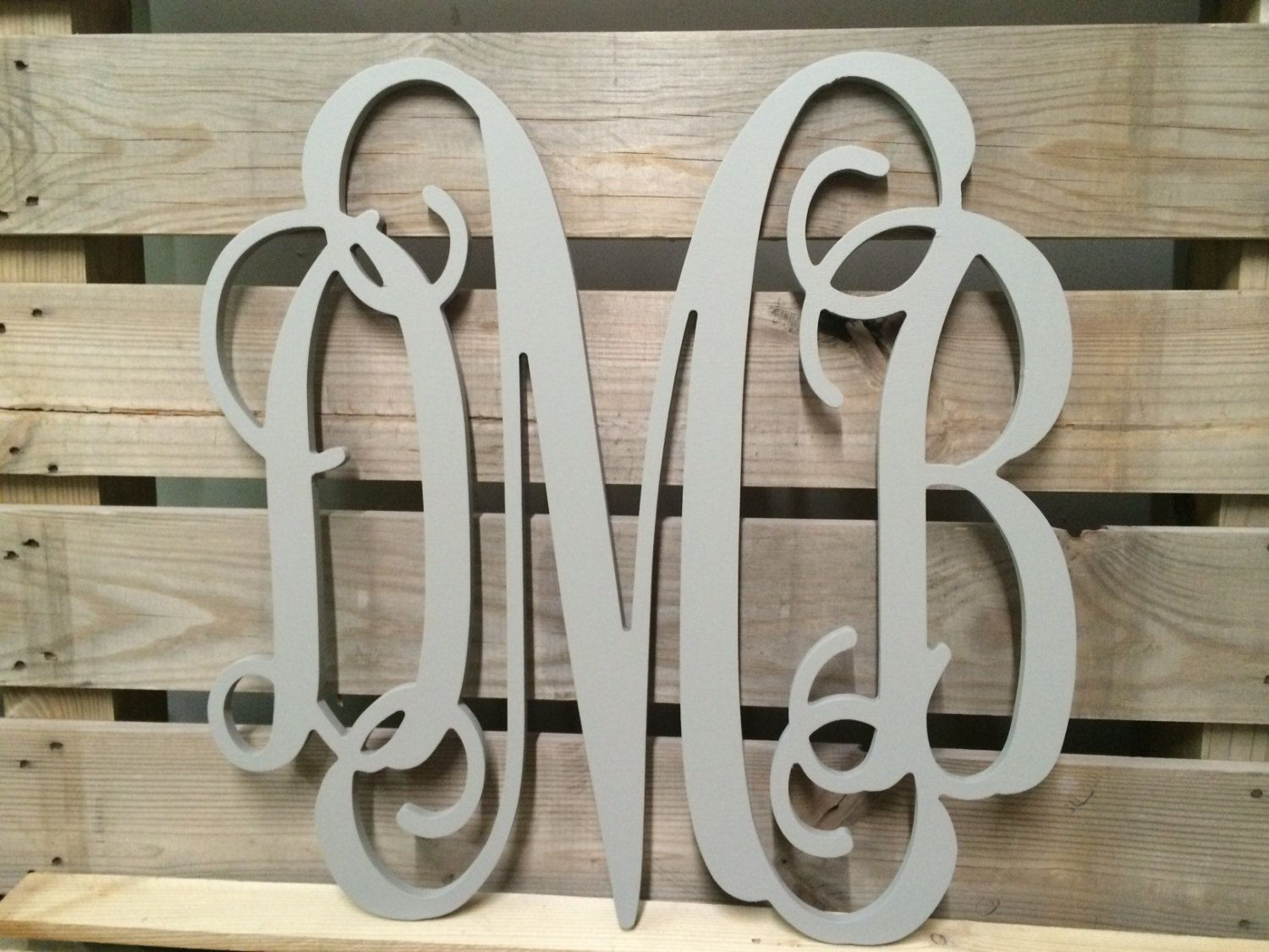 Painted Monogram Extra Large Wall Letters Cursive Wooden Wedding Guest Book