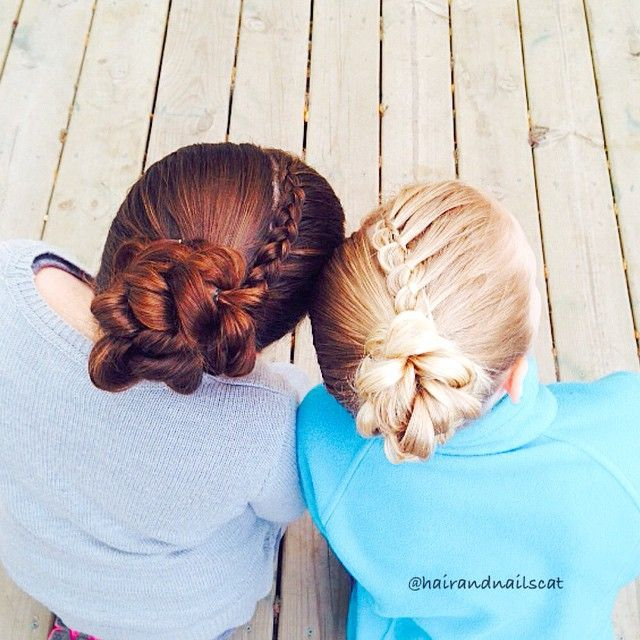 """Best friends wearing lace Dutch braid and four strand braid into pull through braid buns. Have a great Tuesday! ❤️"" Photo taken by @hairandnailscat on Instagram, pinned via the InstaPin iOS App! http://www.instapinapp.com (04/21/2015)"