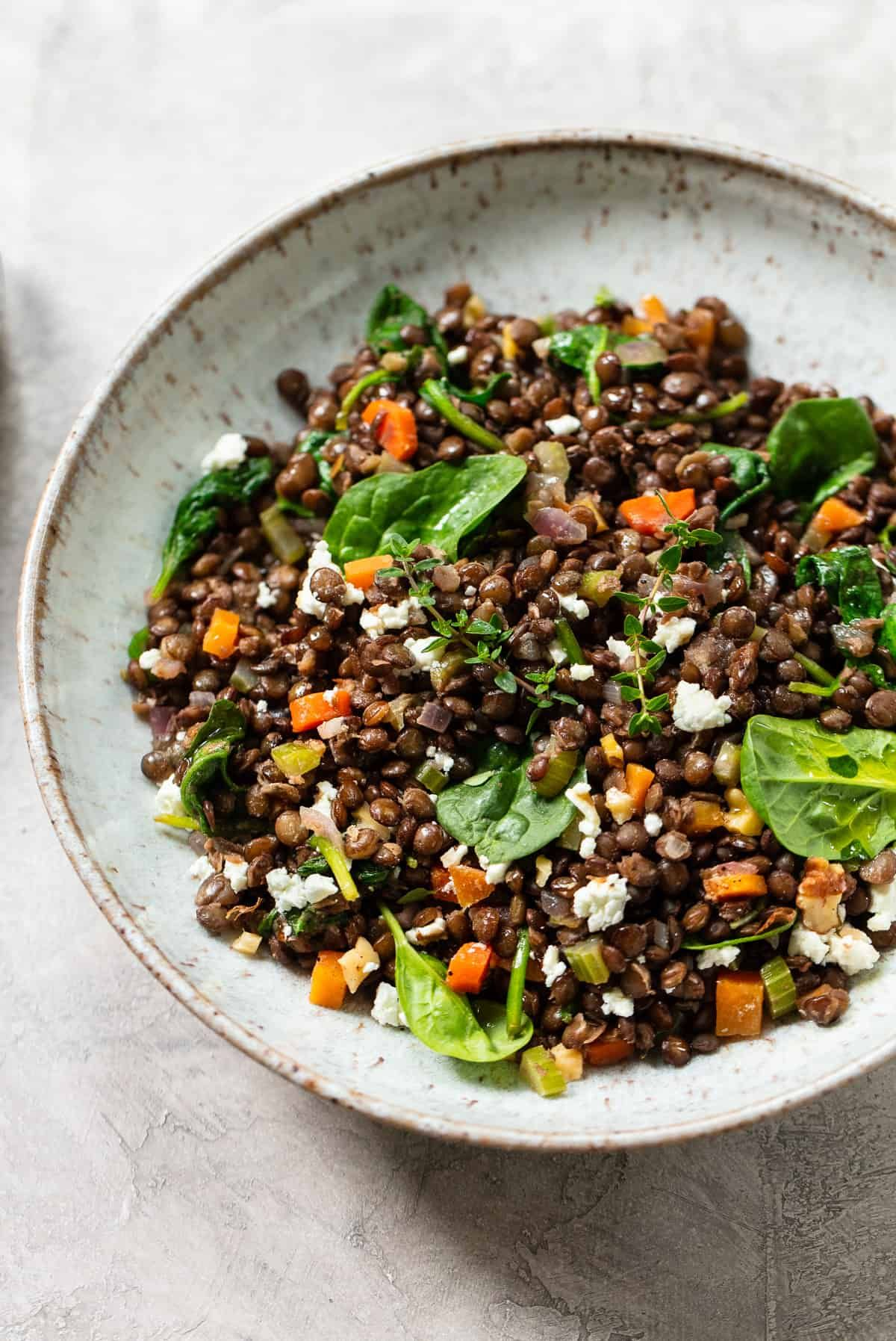 Warm French Green Lentil Salad With Spinach