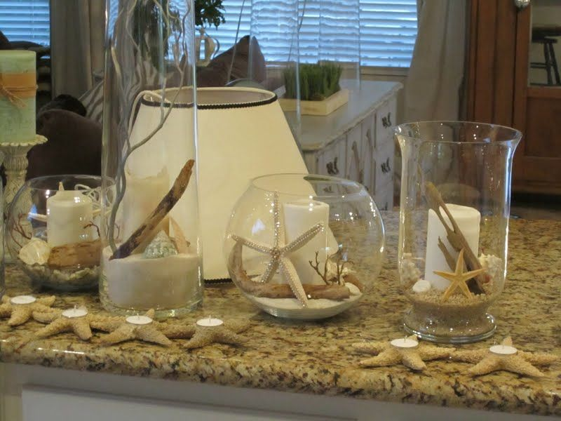 Glass Cylinders Vases Amp Bowls Filled With Rocks Sand Driftwood White Candles Shells