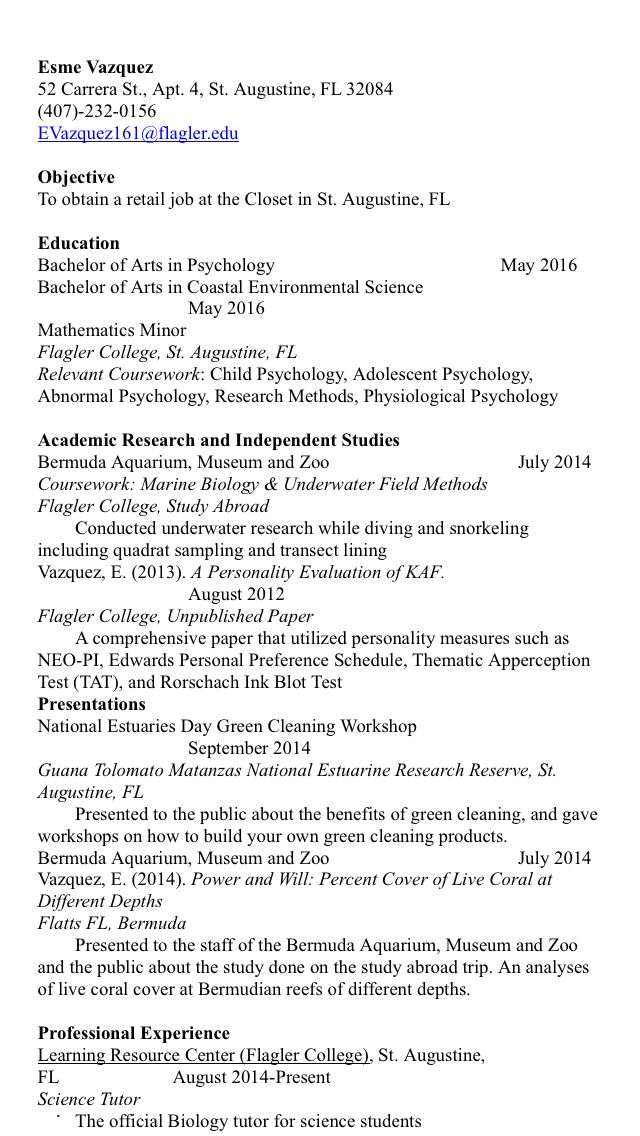 Psychology Resume Just Finished Going To A Resume Building Workshop Hopefully This