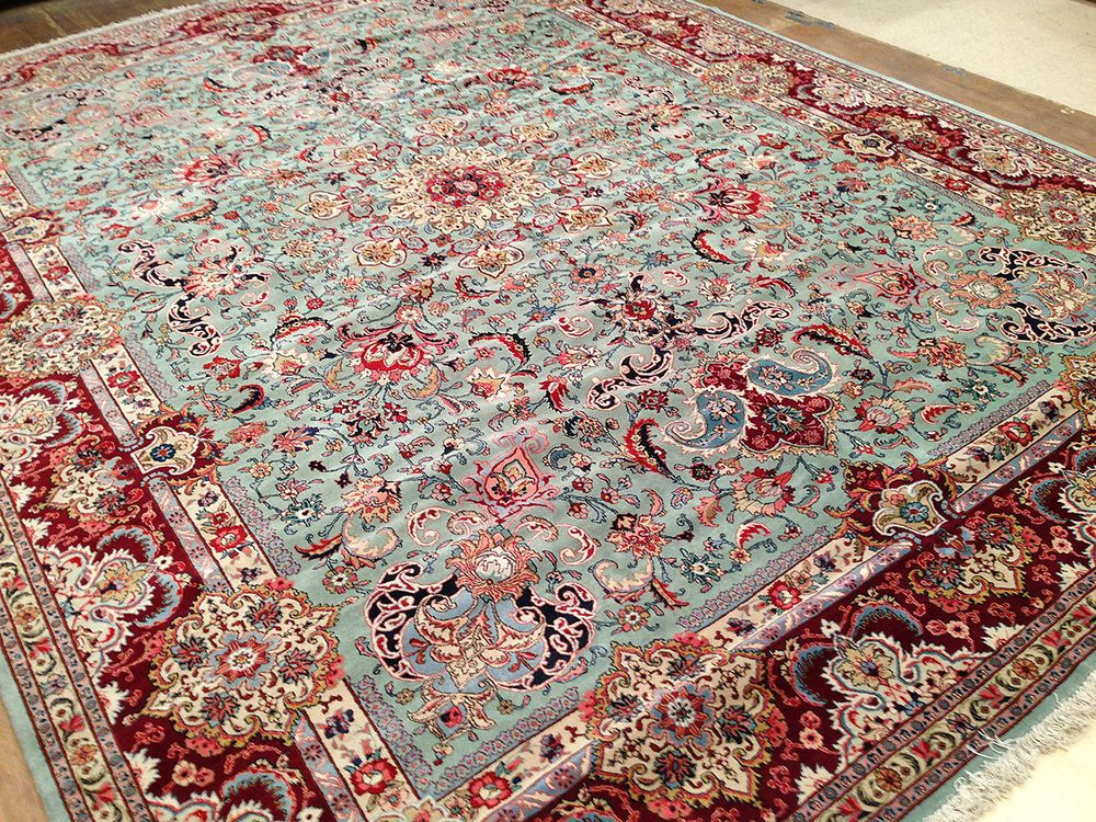 11 X 15 Antique Persian Tabriz Hand Knotted Wool Green Maroon Fine Oriental Rug In Antiques