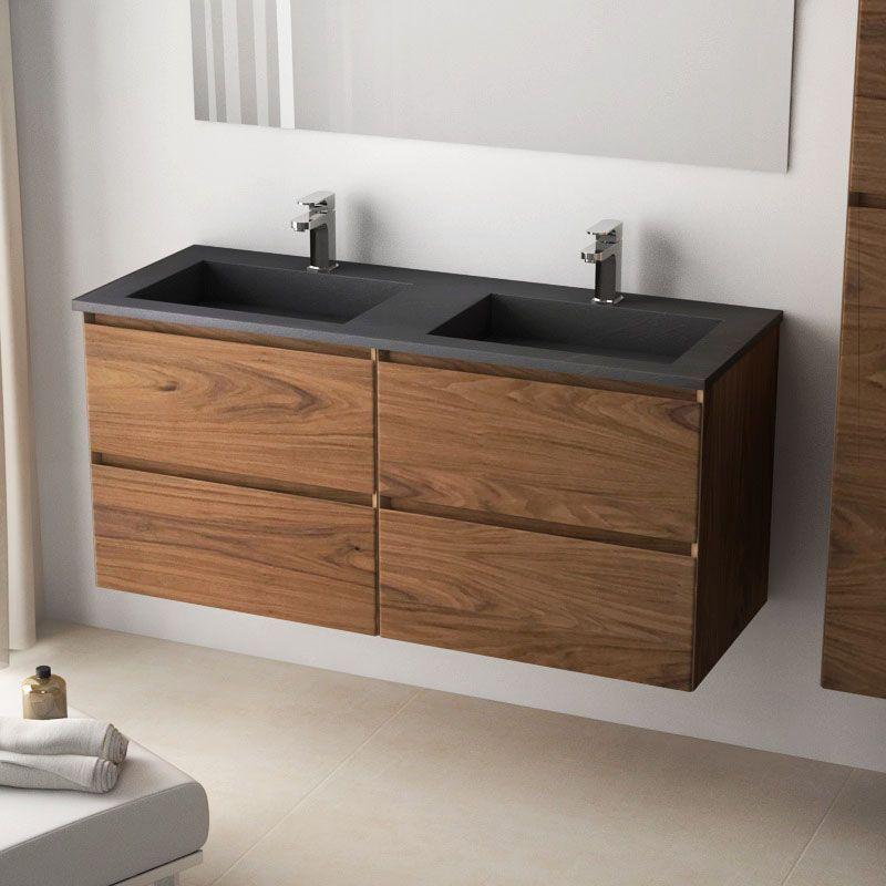 Cordoue, Meuble salle de bain bois noyer 121 cm, double ...