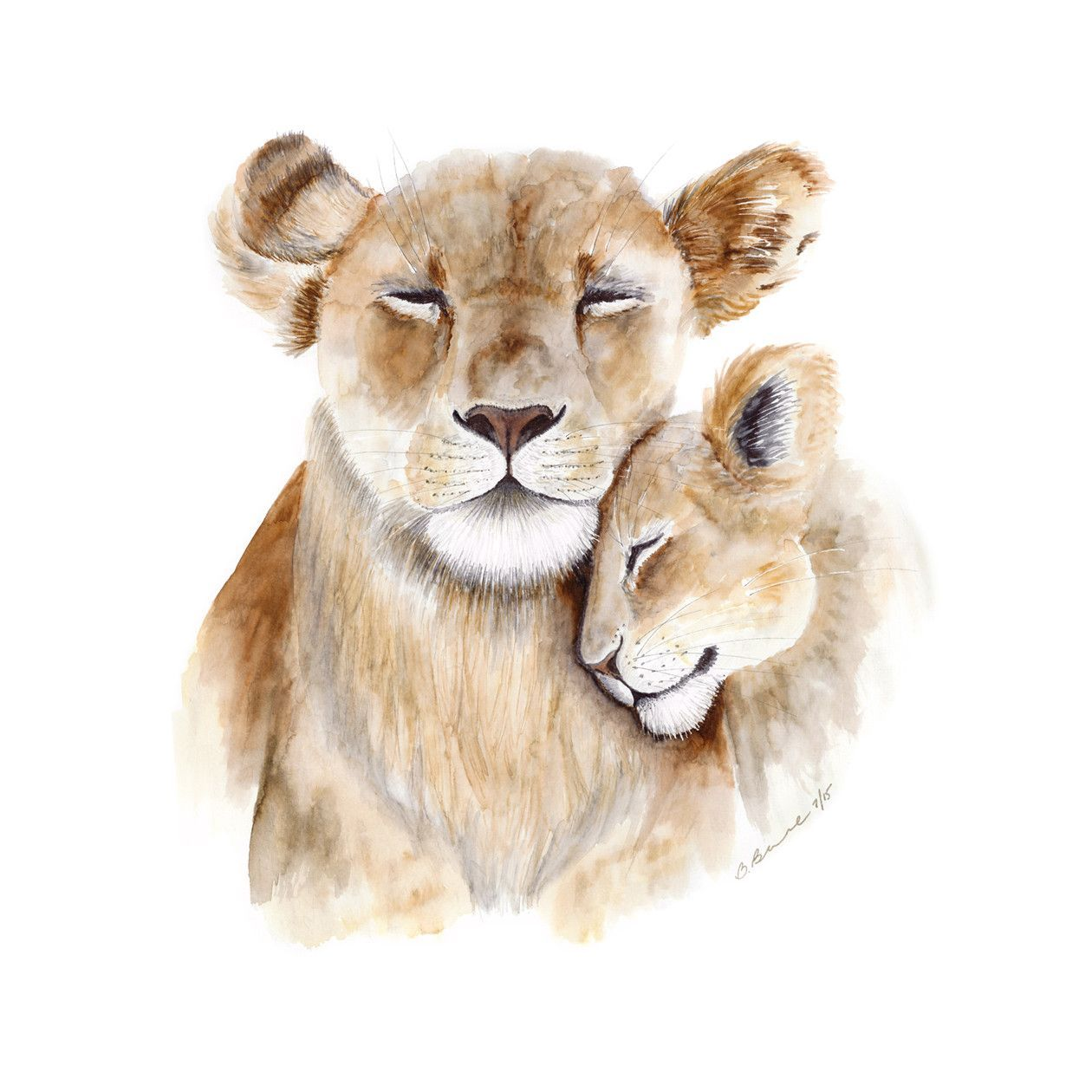Mom And Baby Lion Baby Animal Art Lion Wall Art
