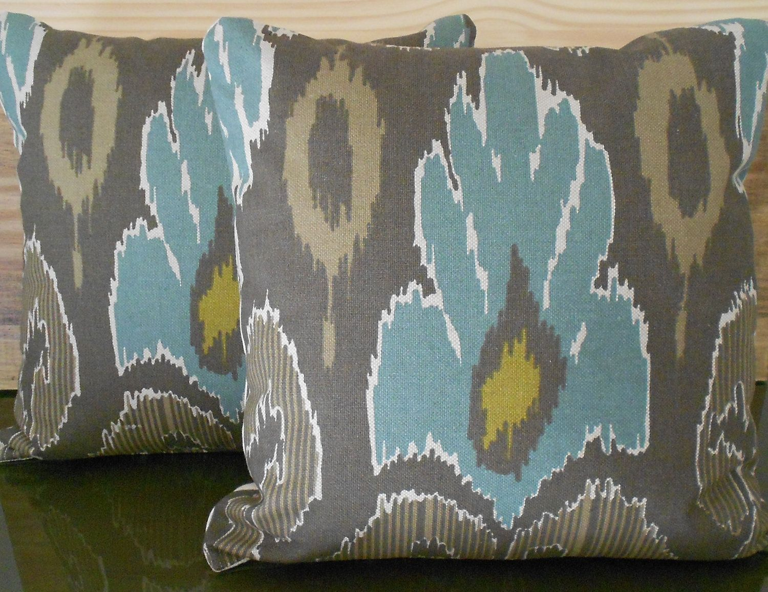 Decorative pillows with blue brown and yellow - Pair Of Ikat Decorative Pillow Covers Spa Teal Blue Brown And Grey Throw