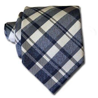 Blu & Beige Tartan Tie