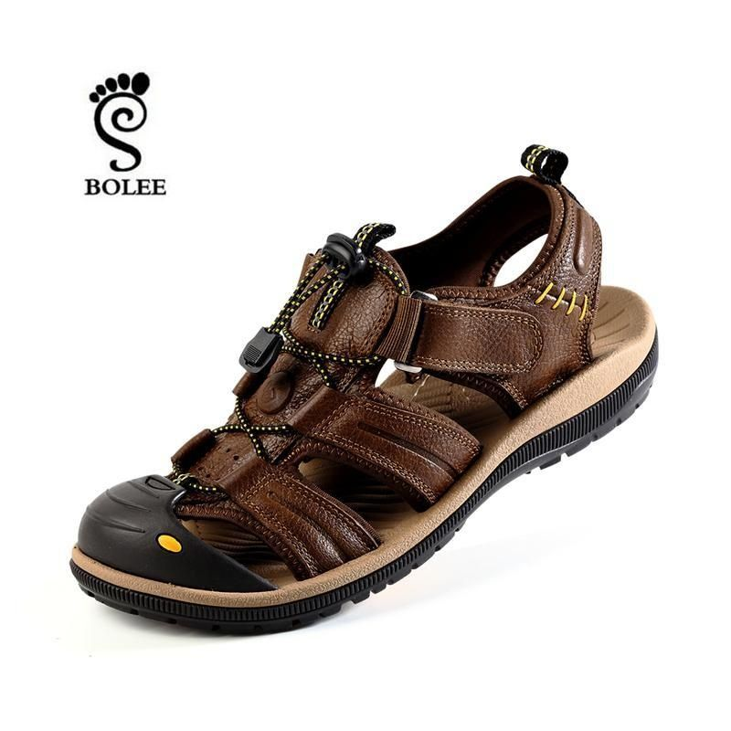 8d9bc7b52defc Full Grain Leather Men Sandals Handmade Casual Outdoor Beach Shoes Top  Quality Beach Summer Shoes zapatillas