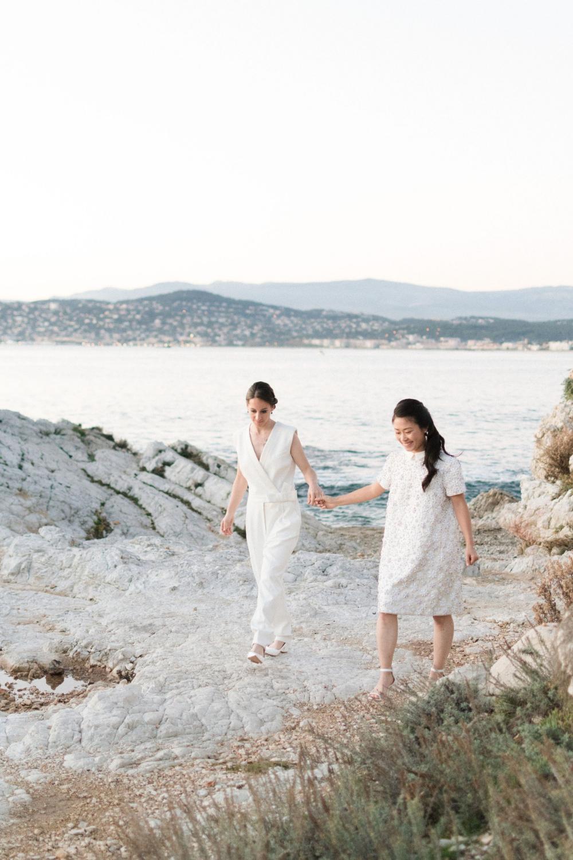 A White And Blue Beachfront Wedding At Sunset Sunset