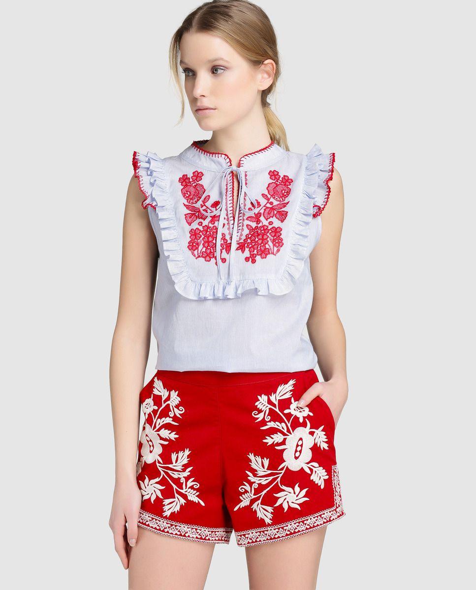 · Moda bordado El Tintoretto de con Tintoretto rojo Short · · mujer 6H8Uqwz