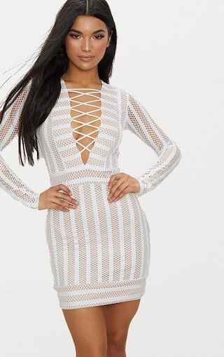 Nude High Neck Lace Lattice Detail Bodycon Dress Pretty Little Thing GX3EH7TvWd