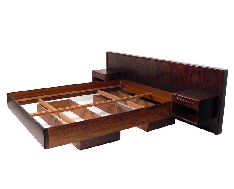 Danish Modern Floating Rosewood Bed With Integrated Nightstands For Sale At 1stdibs Danish Modern Modern Bedroom Set Steel Bed Frame
