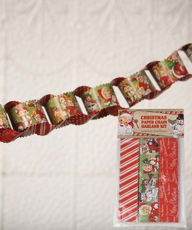 Retro Christmas Paper Chain Garland Kit Christmas Paper Chains