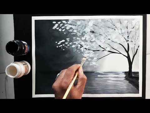Easy Black And White Painting Ideas Tutorial Youtube Black And White Painting White Painting Monochromatic Paintings