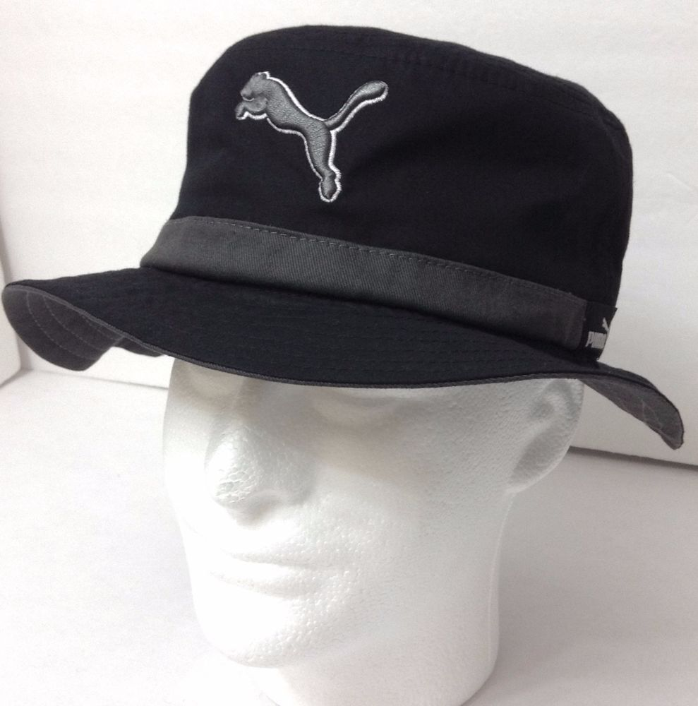 66b0e575d3e New 25 PUMA RELAXED-FIT BUCKET HAT Black Gray Men Women S M (fits  7-1 8