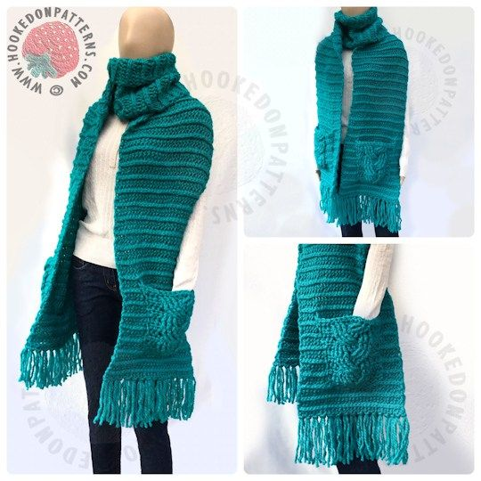 Free Crochet Pattern for a Super Chunky Scarf with Pockets   Tejido ...