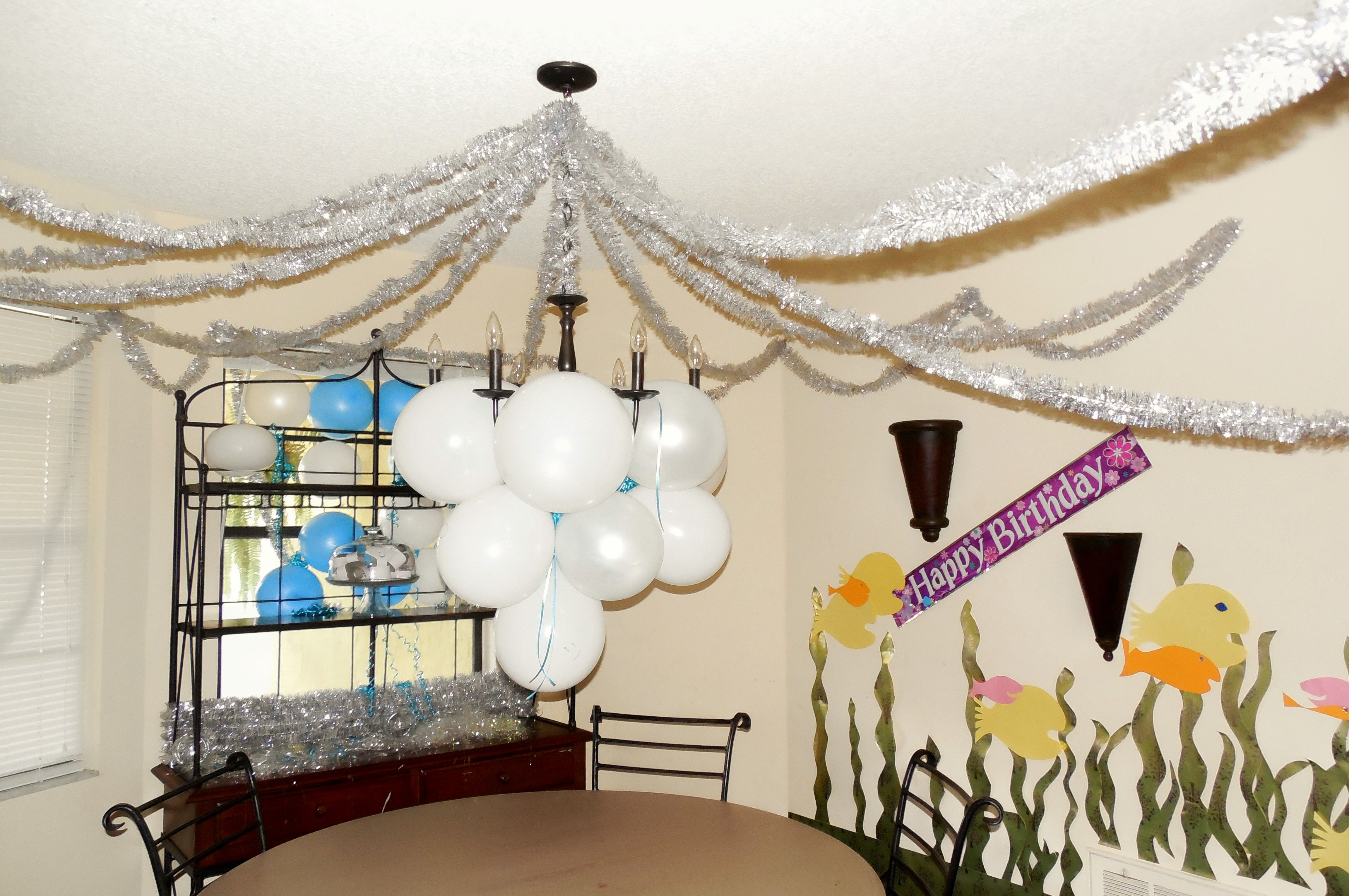 Birthday Decorations Water Or Air Using Christmas Tinsel Gold
