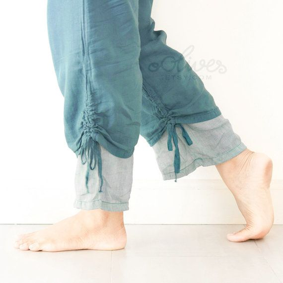 Comfy Drawstring Cotton Pants in Turquoise by oOlives on Etsy, $28.00