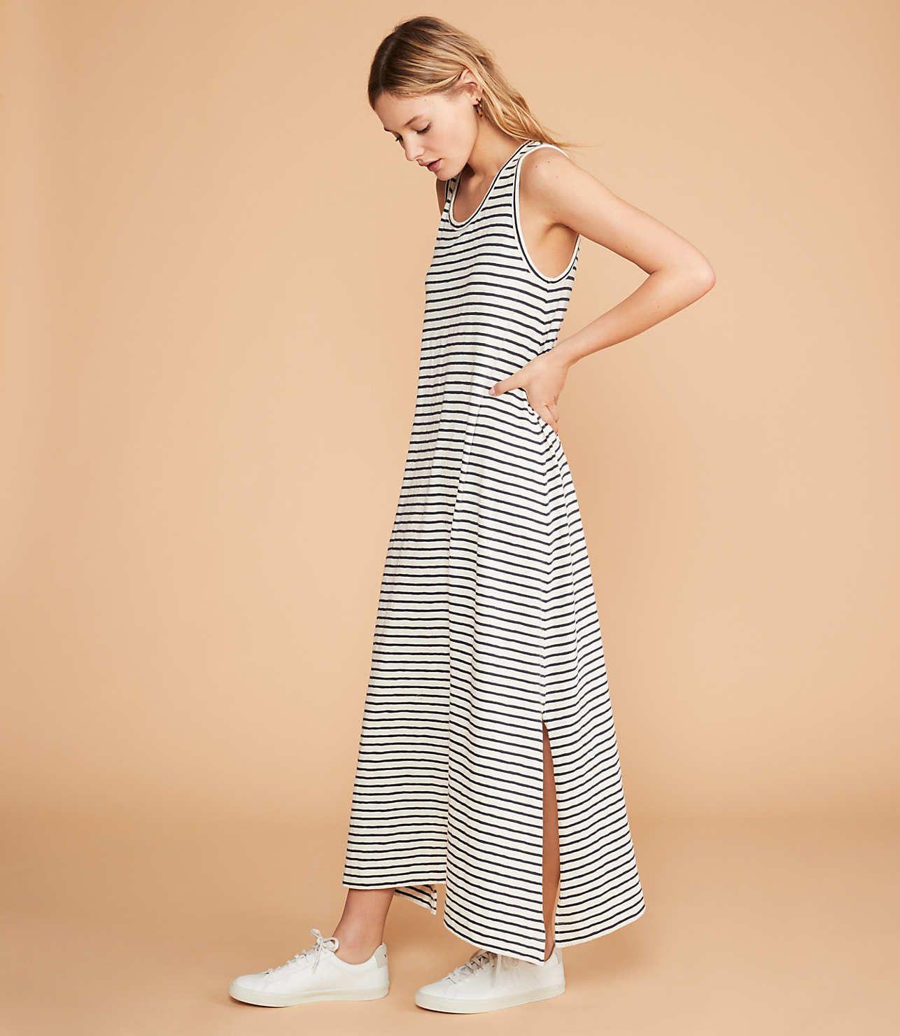 Striped Tank Top Dress Grey Maxi Dress Maxi Dress Dresses [ 1480 x 1286 Pixel ]