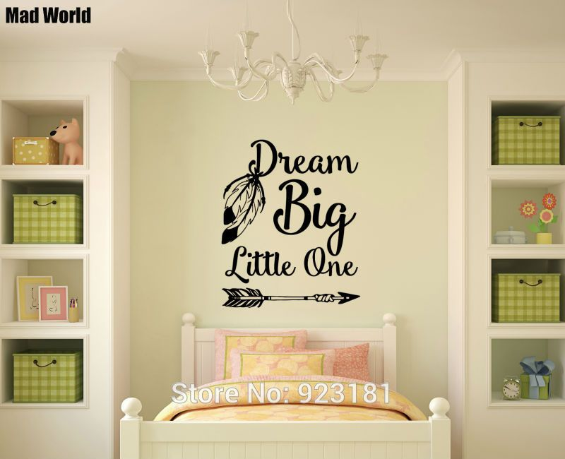 Mad World-Dream Big Little One Feather Arrow Wall Art Stickers Wall ...