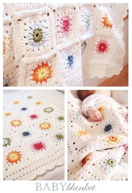 This blanket by epipa at Private Matters is lovely, isn't it? It would be pretty easy to do - just sunburst granny squares with some lacework around the edges.
