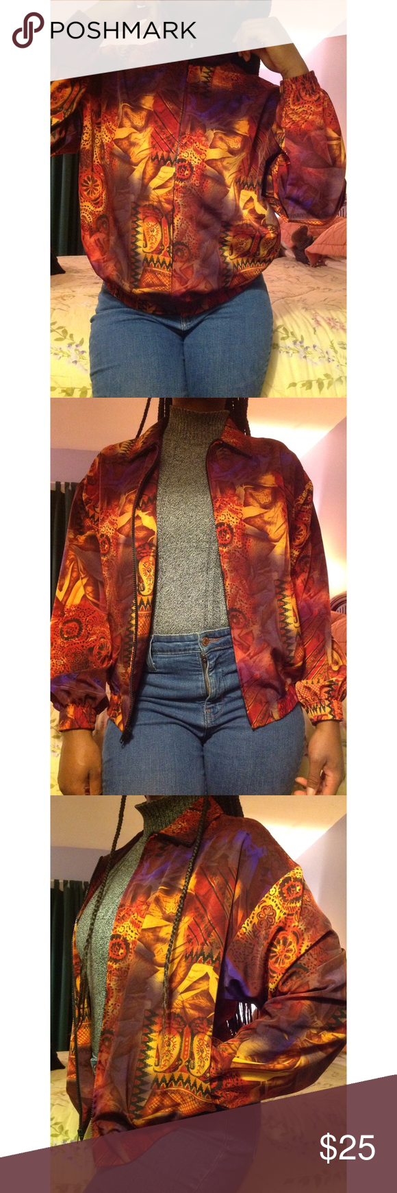 Funky 90s Print Bomber Zipup Jacket With Pocktes 90s Fashion Inspired Do Not Know If It Was Actually Made In The 90s Lol Fashion 90s Fashion Clothes Design [ 1740 x 580 Pixel ]