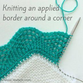 Knitting on borders, around the corner - a tutorial by La Visch Designs
