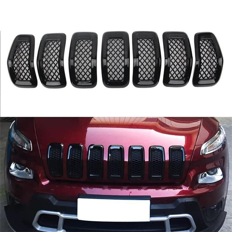 7pcs Abs Gloss Black Chrome Front Mesh Grille Cover For 2014 2018 Jeep Cherokee