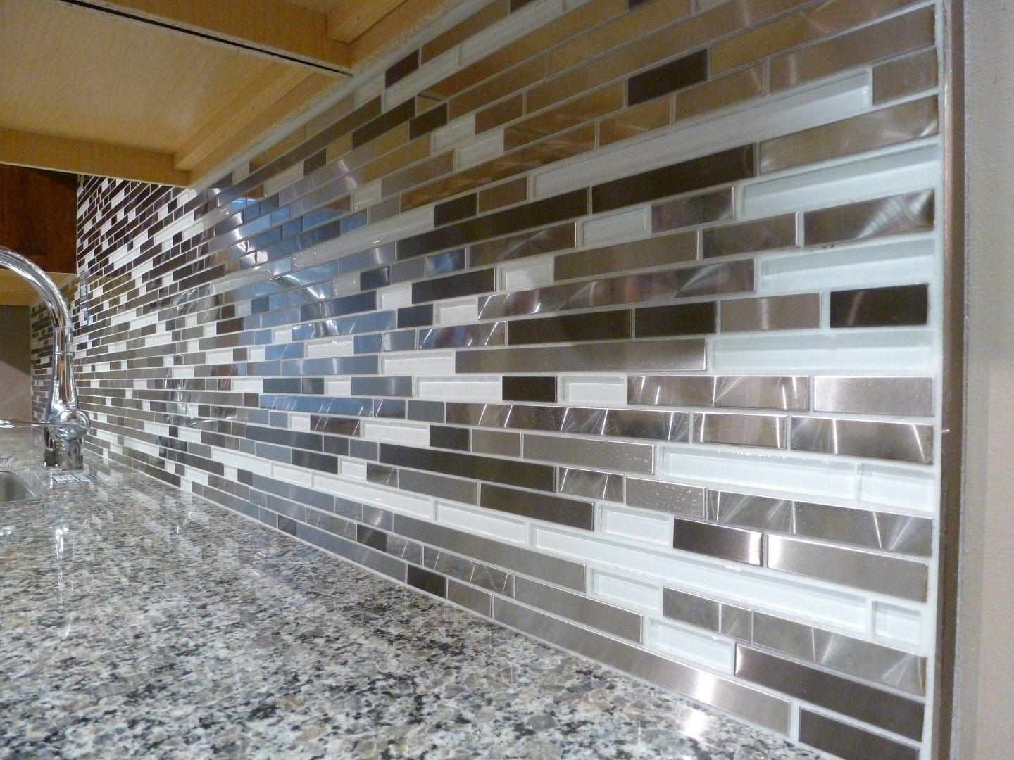Kitchen Backsplash Panel Metal And White Glass Random Strips Backsplash Tile Mosaic 15 1 2