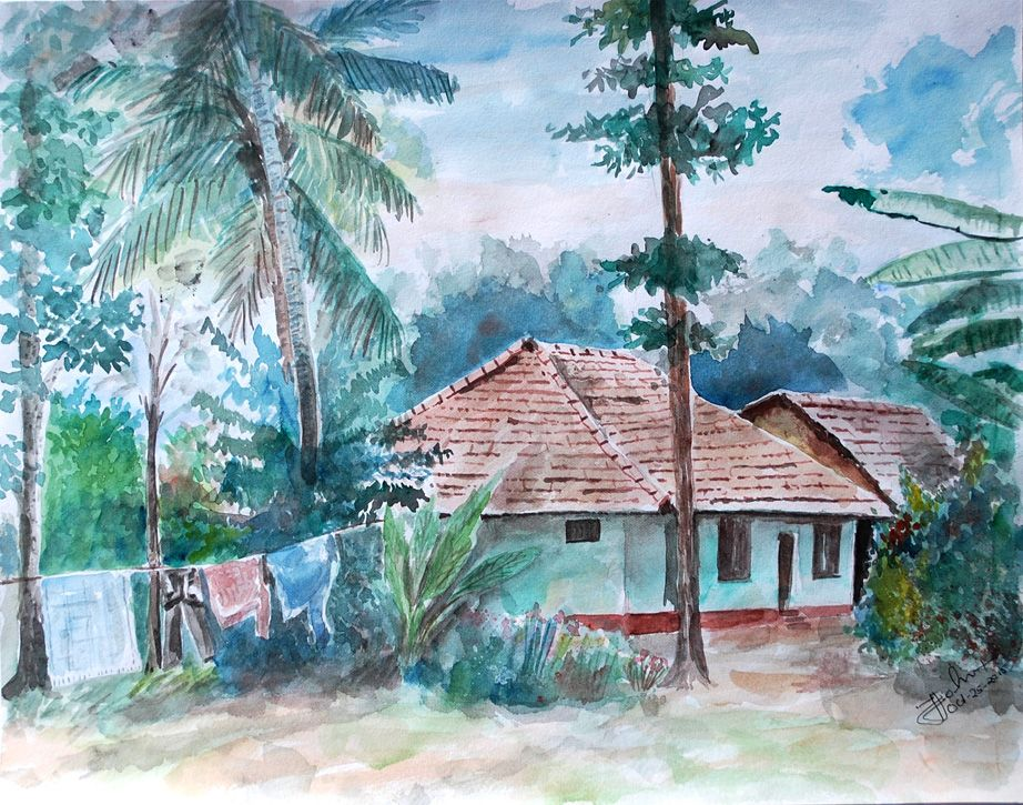 kerala scenery village painting picturesque india www