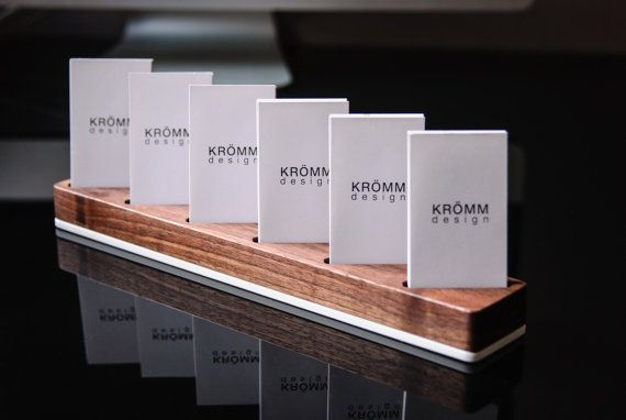 Wood Display for Vertical Business Cards in Walnut and White Acrylic Multiple Vertical MOO Business Card Wood Stand Multiple Business Card Holder