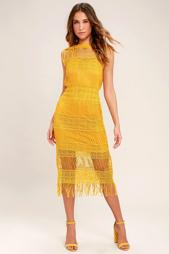 Moon River Cultivator Mustard Yellow Lace Midi Dress In 2019