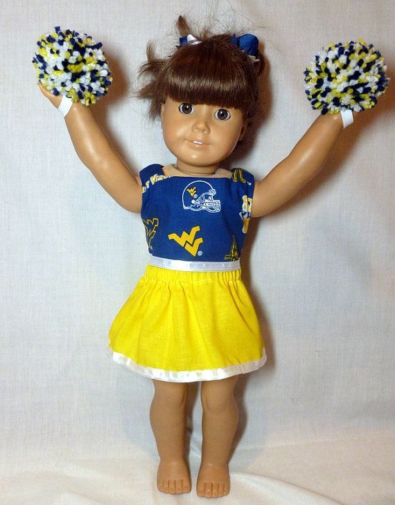 American Girl doll clothes cheerleader WV Mountaineers 18 inch doll West Virginia University #18inchcheerleaderclothes American Girl doll clothes cheerleader WV by OffTheHookbyLora, $17.00 #18inchcheerleaderclothes