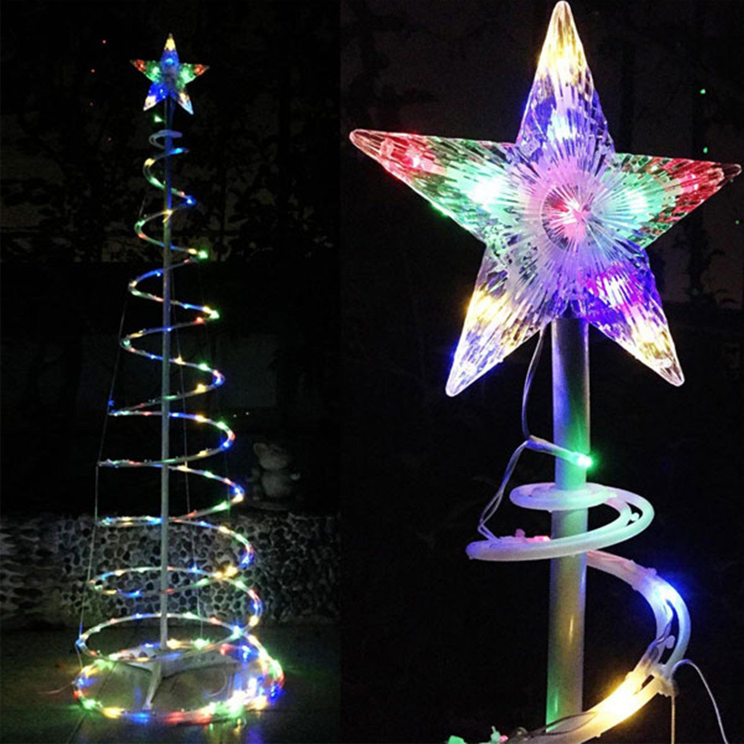 Koval Inc 5ft 6ft Bulk Discount Clear Led Rgby Lighted Spiral Christmas Tree 5 Units 6ft Spiral Christmas Tree Outdoor Holiday Decor Spiral Tree