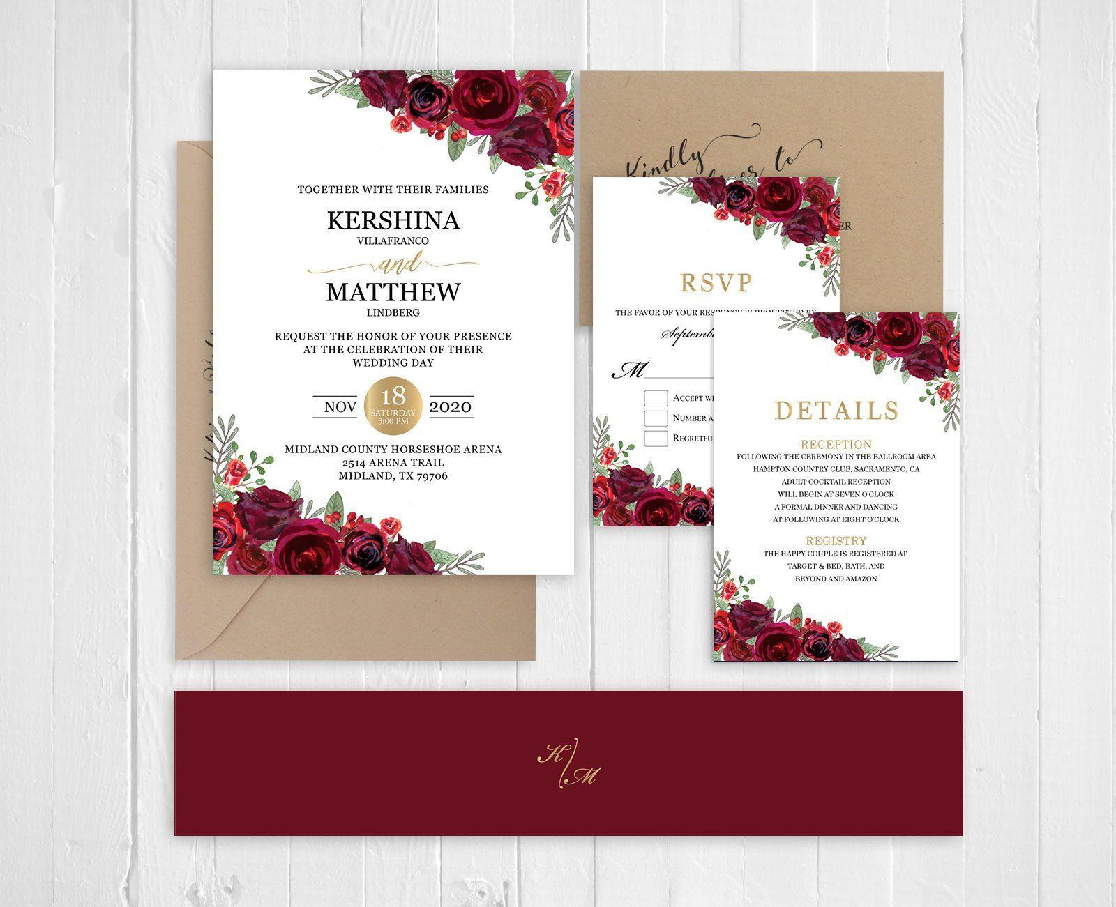 Red Burgundy Rose Wedding Invitation Cranberry Maroon Floral Wedding Invitation Set Printed Invite Set Sc758 120lb Premium Card Stock Undangan