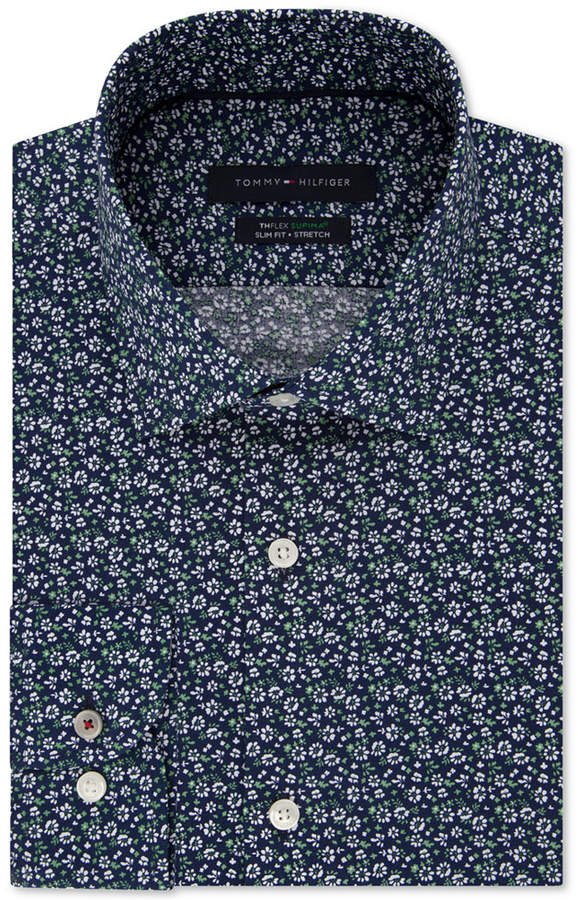 5bbc88529 Tommy Hilfiger Men's Slim-Fit Th Flex Non-Iron Supima Stretch Floral Dress  Shirt