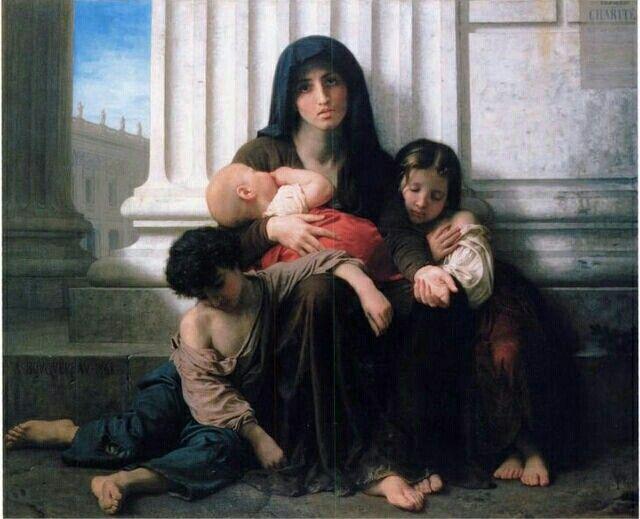 Famiglia indigente (1865). William-Adolphe Bouguereau