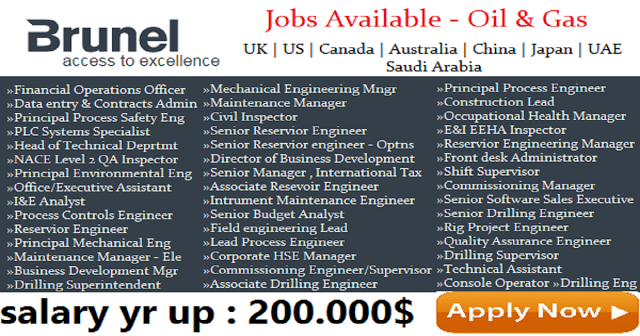 Latest Jobs At Brunel 2017 Uae Saudi Qatar Uk Usa Job Company