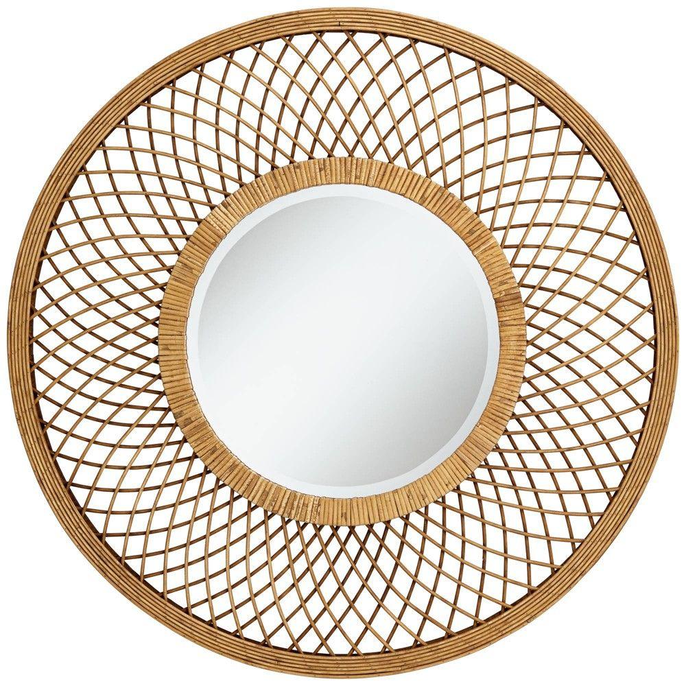 Noble Park Baja Del Sur Dark Rattan 36 Round Wall Mirror Round Wall Mirror Mirror Wall Rattan Mirror