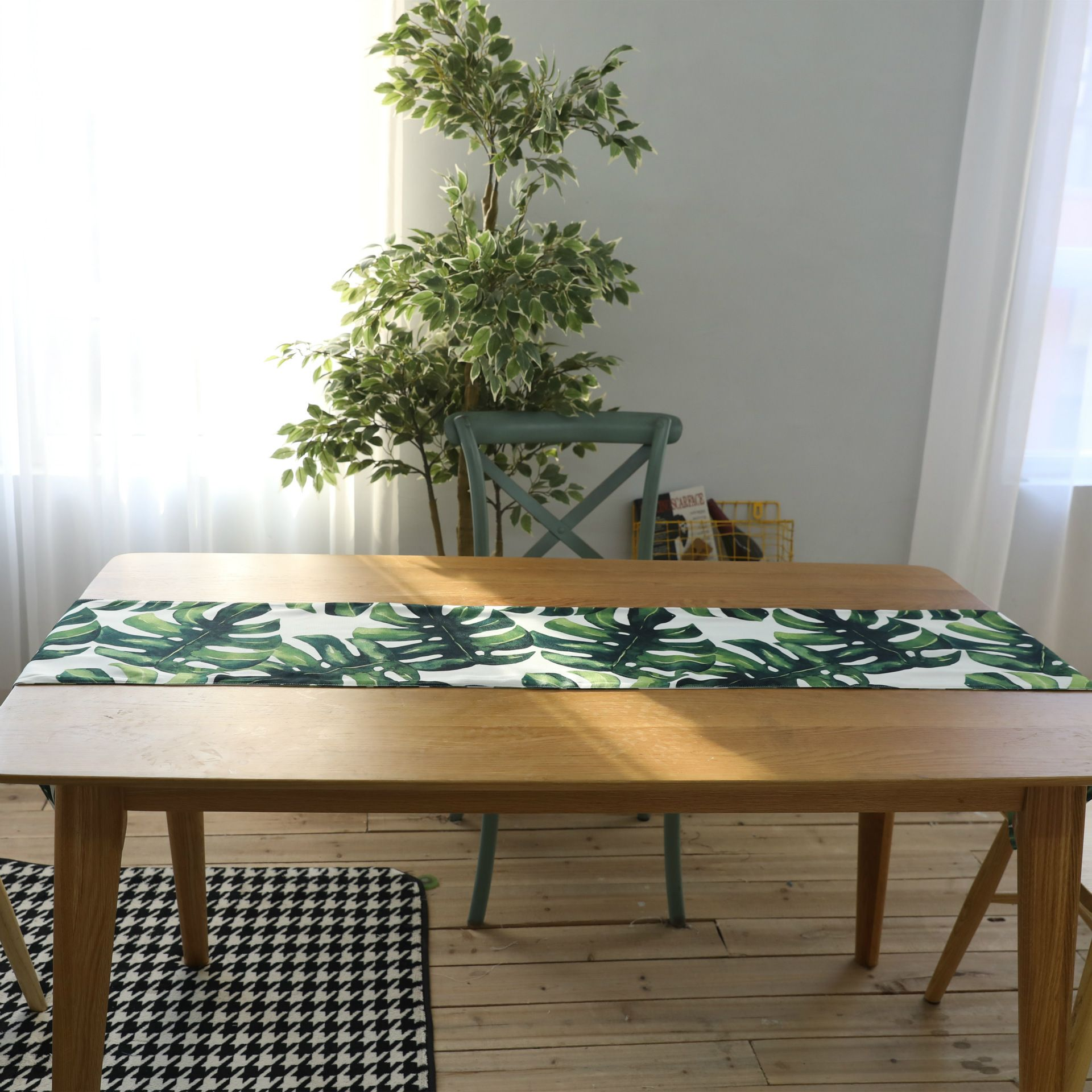 Linen Cotton Washable Handmade Tropical Palm Leaf Table Runners For Home Party Wedding Table Decoration 30 X 200cm Green Leaf Table Modern Table Runners Tropical Table Runners