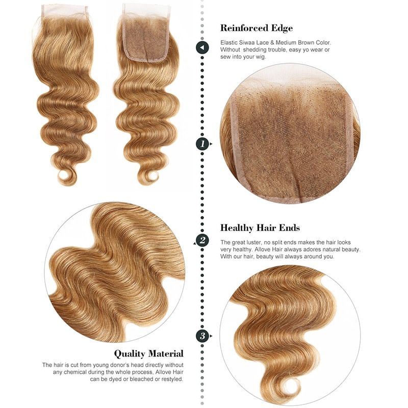 Human Hair Weaves Aliabc Peruvian Body Wave Human Hair Weave 3 Bundles With Lace Closure Natural Color Non-remy Hair Extensions Free Shipping Always Buy Good